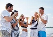 Glimlachende vrienden met dranken in flessen op strand stock fotografie