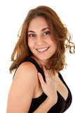Glimlachende vrouw in een zwarte kleding Royalty-vrije Stock Foto's