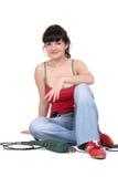 Glimlachende vrouw en een boor Stock Foto