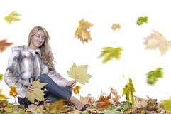 Glimlachende vrouw met bont Royalty-vrije Stock Foto's