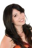 Glimlachende vrouw met lang haar stock foto's