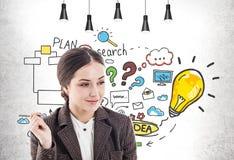 Glimlachende vrouw met pen en haar businessplan vector illustratie