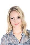 Glimlachende vrouw met rustige uitdrukking Stock Afbeelding