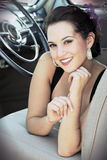 Glimlachende Vrouw Pinup stock foto
