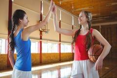 Glimlachende vrouwelijke basketbalspelers die hoog fiving Stock Afbeelding