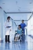 Glimlachende vrouwelijke verpleegsters duwende en bijwonende patiënt in een rolstoel in het ziekenhuis, die aan arts spreken Stock Afbeeldingen