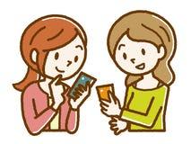 Glimlachende vrouwen die mobiele telefoons in werking stellen vector illustratie
