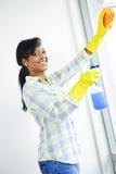 Glimlachende vrouwen schoonmakende vensters royalty-vrije stock afbeelding