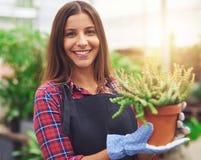Glimlachende werknemer bij een bloemkinderdagverblijf Stock Foto