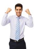 Glimlachende Zakenman Gesturing Success royalty-vrije stock fotografie