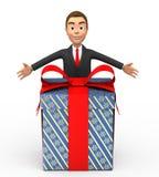 Glimlachende zakenman met een gift Stock Afbeeldingen