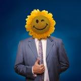 Glimlachende zonnebloem hoofdmens Stock Afbeeldingen