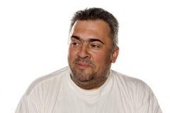 Glimlachende zwaarlijvige mens stock fotografie