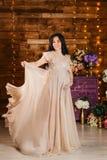 Glimlachende zwangere mooie vrouw die in volledige hoogte de camera in de Studio bekijken royalty-vrije stock fotografie