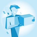 Glimlachmens in GLB met doos in blauw Royalty-vrije Stock Afbeelding