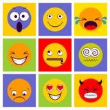 Glimlachpictogram Smileygezichten die verschillend gevoel uitdrukken Royalty-vrije Stock Afbeeldingen