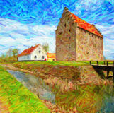 Glimmingehus Castle Painting Royalty Free Stock Photos