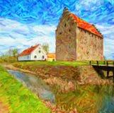 Glimmingehus Castle Painting Royalty Free Stock Photos