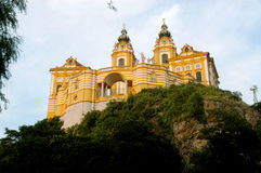 A glimpse of the ancient and imposing monastery of Melk on the D Royalty Free Stock Photos