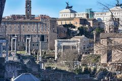 A glimpse of ancient Rome with its churches, monuments and ancient urban buildings - Rome. Italy royalty free stock images