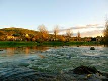 Glimpse of Arno river stock photo