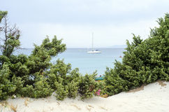 Glimpse of a boat between green trees, blue sea and cloudy sky. At Campulongu in summertime Royalty Free Stock Photography