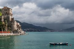 Glimpse of Cetara with Salerno in the background on a cloudy day, Amalfi Coast, Campania, Italy stock photography