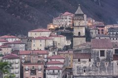 Glimpse of the city of Campagna in the province of Salerno. To understand a concept of tourism famous for the event & x22;a chiena& x22; on the occasion of the Stock Photo