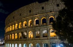 Glimpse of the Colosseum at night, in Rome royalty free stock photo