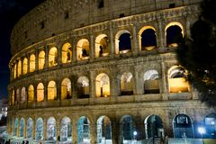 Glimpse of the Colosseum at night, in Rome royalty free stock image
