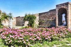Glimpse of the courtyard wirh rose garden and ruins of a Roman Empire Domus:  Fortuna Annonaria. Glimpse of the courtyard wirh rose garden and ruins of Domus Royalty Free Stock Photo