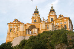 A glimpse of the imposing and ancient monastery of Melk on the D Royalty Free Stock Photography