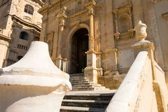 A glimpse of the late baroque architecture in Noto, Italy. Realized in a typical local stone Royalty Free Stock Photography