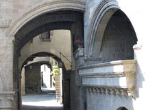 Glimpse of the medieval city of Viterbo in Italy. Antique ancient city. Sunny day. Travel destination. Balcony and arches. A to follow of arcs. Staiways in Royalty Free Stock Images