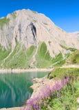 Glimpse of Morasco lake, formazza lake. View of morasco artificial lake, formazza valley Royalty Free Stock Photos