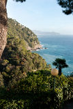 Glimpse of the sea with the promontory of Sestri L Stock Photos