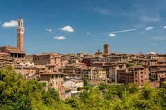 View of Siena from south with the Mangia Tower royalty free stock image