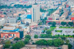 A glimpse of Taiyuan. The micro view of Wuyi square, the center of Taiyuan Royalty Free Stock Images