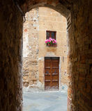 Glimpse of the town of Pienza in Tuscany Stock Photography