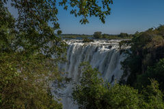Glimpse of Victoria Falls framed by branches Royalty Free Stock Photo