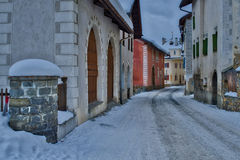 Glimpse of the village of S-chanf in the Engadine valley in Swit Royalty Free Stock Photos