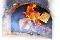 Glimpse wood fire oven before the pizza comes in Royalty Free Stock Photos