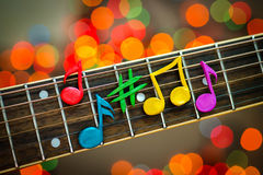 Glin notatki na sznurkach gitara Obraz Royalty Free