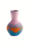 Glinenny vase of handwork with color patterns Stock Image