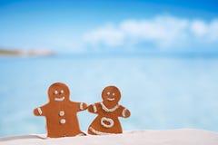 Gliniana piernikowa chłopiec i dziewczyna na plaży z seascape zdjęcia royalty free