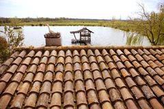 gliniane stare wzoru dachu Spain płytki Fotografia Stock