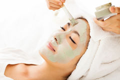 gliniani facial maski kobiety potomstwa zdjęcia stock