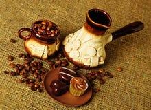 gliniany kawowy set Obrazy Royalty Free