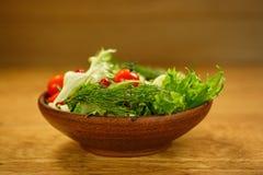 Gliniany sałatkowy puchar z świeżymi warzywami Obraz Royalty Free