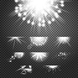 Glint glory effect. Simple vector white and bright suns on transparent background Stock Images